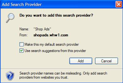 Confirmation Window to add Shop Ads Search