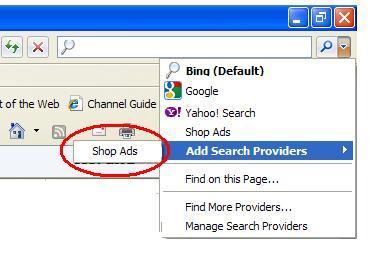 Add Shop Ads Search via Search Menu