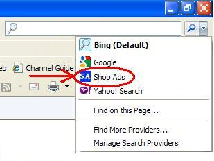 Shop Ads added to IE list of Search Providers